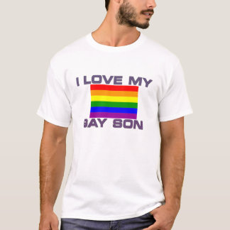 Gay Support l love my gay son rainbow flag T-Shirt