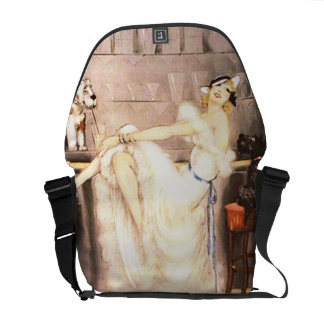 Gay Trio Vintage Woman in Bar with Dogs Retro Messenger Bags
