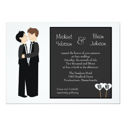 Gay tuxedo wedding invitation zazzlecom for Gay wedding shower invitations