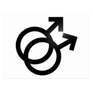 Gay Union Symbols, Mars, Male Couple, Marriage Postcard