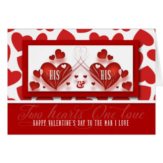 Gay Valentine for Life Partner with Two Red Hearts Card