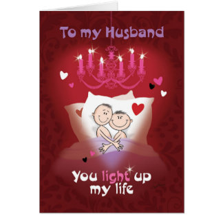 Gay Valentine, Husband, Fun Couple in Bed Card