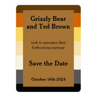 Gay Wedding Bear Pride Flag Gold Save the Date Card