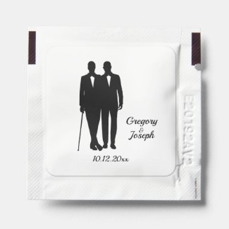 Gay Wedding Black and White Hand Sanitizer Packet