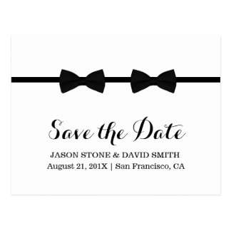 Gay Wedding Bow Ties Minimalist Save the Date Postcard