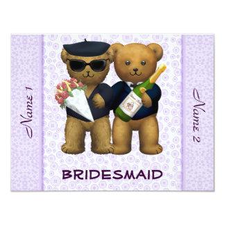 Gay Wedding - Bridesmaid  - Teddy Bears lilac 4.25x5.5 Paper Invitation Card