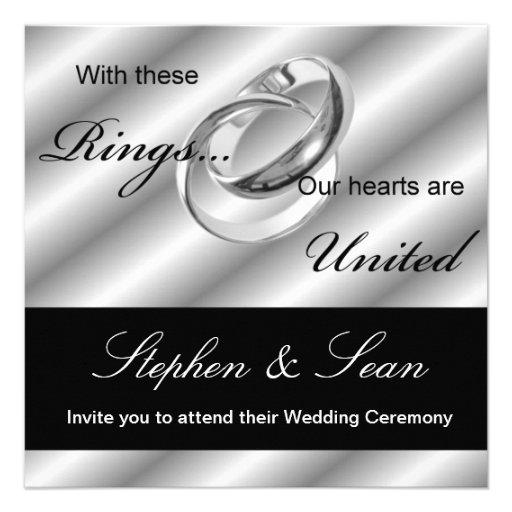 Gay Wedding Ceremony Invitation announcement