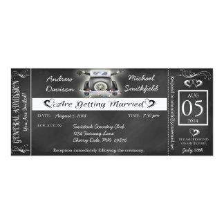 Gay Wedding Chalkboard Ticket Style Invitation