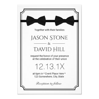 Gay Wedding Double Bow Ties Classic Framed Card