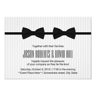 Gay Wedding Double Bow Ties Classic Invitation