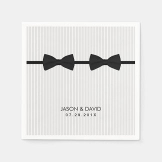 Gay Wedding Double Bow Ties Classic Paper Napkin