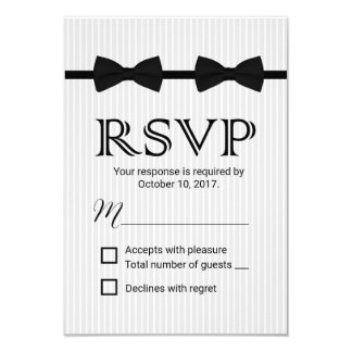 Gay Wedding Double Bow Ties Classic RSVP Card