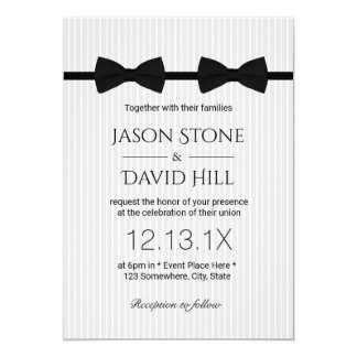 Gay Wedding Double Bow Ties Classic Wedding Invitation