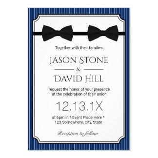 Gay Wedding Double Bow Ties Classy Navy Blue Invitation