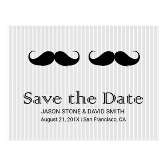 Gay Wedding Double Mustache Save the Date Postcard