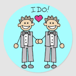 Gay Wedding Favors Classic Round Sticker