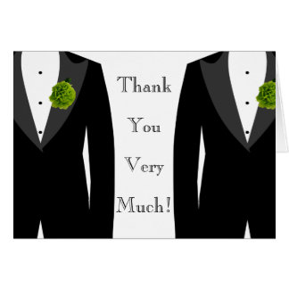 Gay Wedding Green Carnation Grooms' Thank You Card