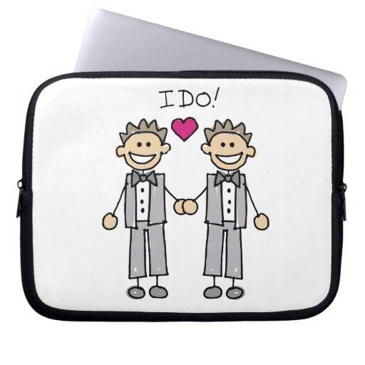 Gay Wedding Groom Laptop Sleeves