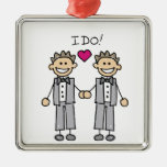 Gay Wedding Groom Square Metal Christmas Ornament