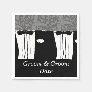 Gay Wedding Grooms Paper Napkins
