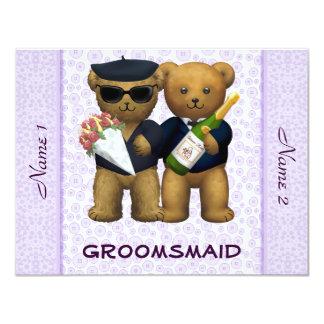 Gay Wedding - Groomsmaid - Teddy Bears lilac 4.25x5.5 Paper Invitation Card
