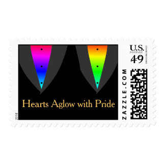 Gay Wedding Hearts Aglow with Pride Postage Stamp