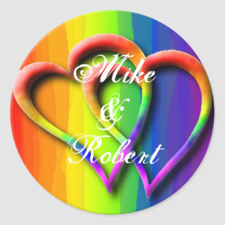 Gay Wedding Hearts LGBT Custom Personalized Names Classic Round Sticker