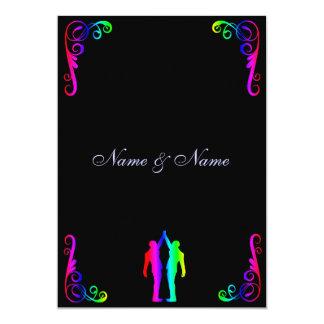 Gay Wedding Invitation - Rainbow Groom and Groom