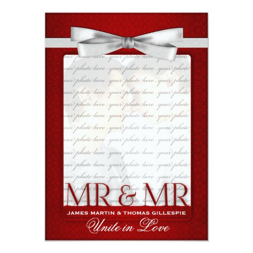Gay Wedding Invitation Two Grooms Photo Red