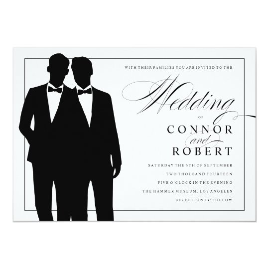 Amazing Gay Wedding Invitation Two Grooms Silhouettes