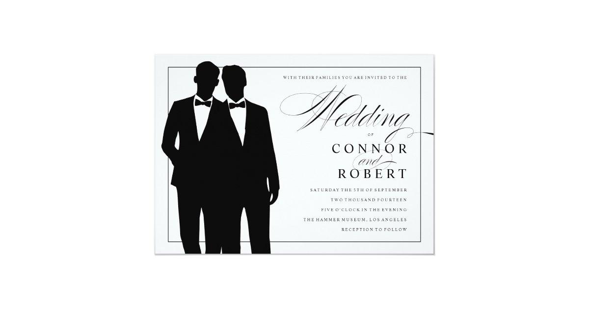 Gay Wedding Invite: Gay Wedding Invitation Two Grooms Silhouettes