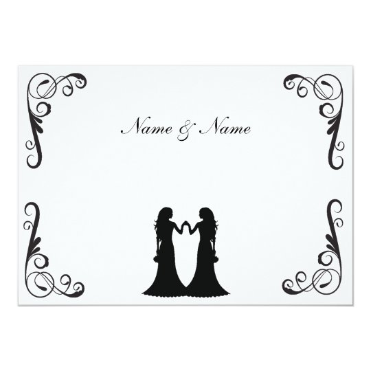 Gay Wedding Invite - Two Brides Black and White