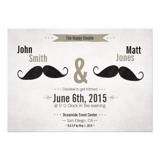 Gay Wedding Moustache Invitation