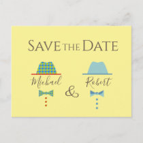 Gay Wedding Mr and Mr Vintage Colorful Bow Ties Announcement Postcard