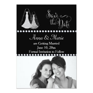 Gay Wedding Photo Save the Date Silver Card