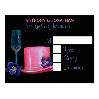 Gay Wedding Pink Top Hat Personalized RSVP Postcard