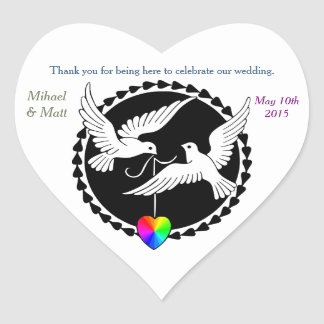 Gay Wedding Rainbow Heart Love Doves Heart Sticker