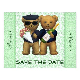 Gay Wedding - Save the Date - Teddy Bears Apple 4.25x5.5 Paper Invitation Card