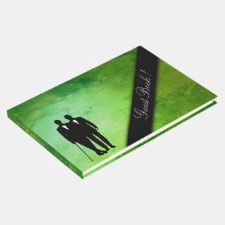 Gay Wedding Sultry Green Marble Guest Book