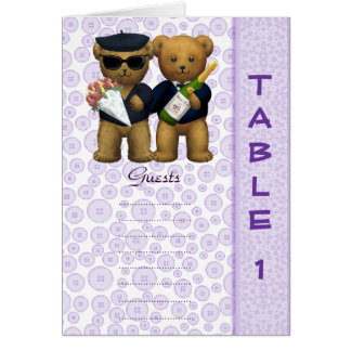 Gay wedding Table 1 number Lilac Teddy bear peom Greeting Cards
