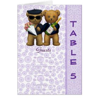 Gay wedding Table 5 number Lilac Teddy bear peom Card
