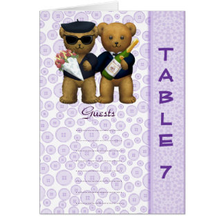 Gay wedding Table 7 number Lilac Teddy bear peom Cards