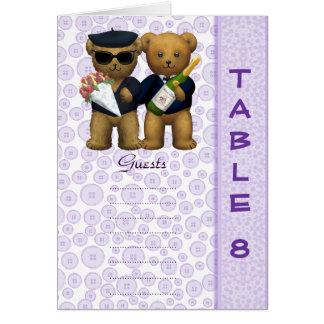 Gay wedding Table 8 number Lilac Teddy bear peom Cards