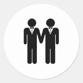 GAY WEDDING TOPPER CLASSIC ROUND STICKER