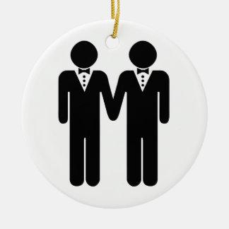 GAY WEDDING TOPPER MEN -.png Ceramic Ornament