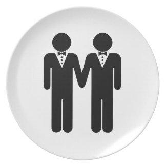 GAY WEDDING TOPPER MEN -.png Melamine Plate