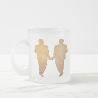 Gay Wedding Vintage Paper Grooms Frosted Glass Mug