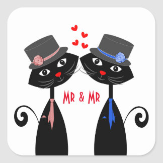 Gay Weddings Cool Cat Mr & Mr Grooms Square Sticker