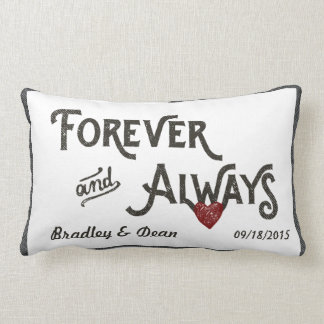 Gay White Forever Always Heart Personalized Pillows