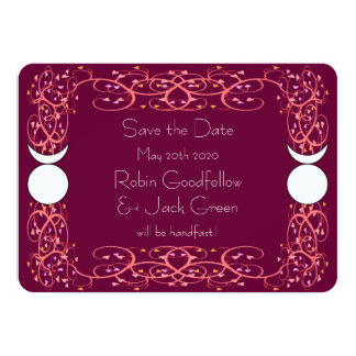 Gay Wiccan Wedding Red Save the Date Card